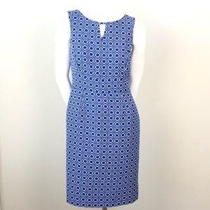 Tahari Blue White Jacquard Sleeveless Sheath Dress